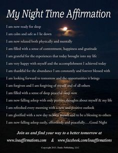 Night time affirmations