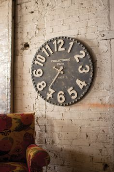 Inspired by antique wall clocks of the old Paris flea market, this rustic time…