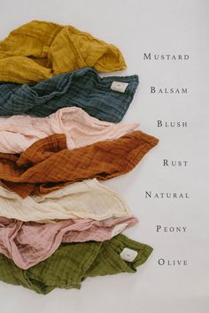 Layered Gauze Blanket — Sparrow Baby Co. Layered Gauze Blanket — Sparrow Baby Co. Colour Pallete, Colour Schemes, Color Combinations, Earthy Color Palette, Rustic Color Palettes, Orange Color Palettes, Modern Color Schemes, Color Trends, Moodboard Interior