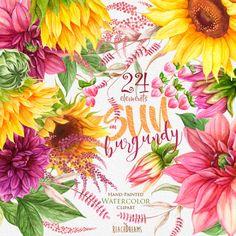 Girasoles Dalias. Acuarela elementos florales flores de