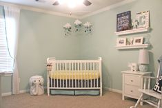 Aqua, Navy and Yellow Nursery with DIY cloud and stars mobile