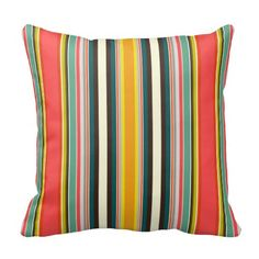 retro stripe pillow #zazzle #sharonturner #scrummylicious #scrummy #vintage #deckchair #retro #geometric #pillow #cushion #bold