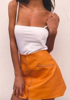 pin: heatonminded Fall Outfits, Orange Outfits, High Waisted Skirt, Mini Skirts, Photo And Video, Clothes, Women, Fashion, Orange Clothes
