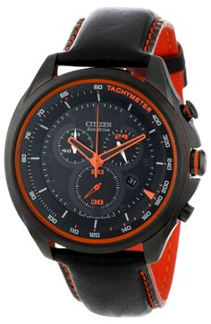 "Citizen Men's AT2185-06E Drive from Citizen Eco-Drive WDR 3.0 Chronograph Watch. Citizen Eco-Drive is fueled by light, any light, so it never needs a battery. Black ion plated stainless steel case with orange accents. 60 minute chronograph. Drive ""D"" logo on crown. 12/24 hour time. Water resistant to 330 feet (100 M): suitable for snorkeling, as well as swimming, but not diving."