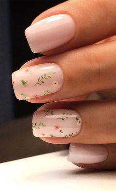 Nail Art Cute, Cute Nail Art Designs, Flower Nail Designs, Pretty Nail Art, Nails With Flower Design, Line Nail Designs, Nails Design, Neutral Nail Art, Floral Nail Art