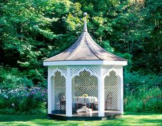street-porter, who trained as an architect, modeled this garden pagoda after an english design. it serves as an idyllic location for outdoor dinners.