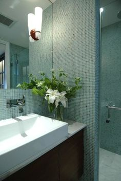 teal Bathroom Decor California Cool in the Castro-Bathroom - modern - bathroom - san francisco - Mark Brand Architecture Blue Bathrooms Designs, Modern Small Bathrooms, Bathroom Tile Designs, Modern Bathroom Design, Amazing Bathrooms, Bathroom Small, Downstairs Bathroom, Modern Spaces, Master Bathroom