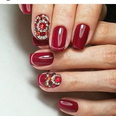 Classic red nails, Evening nails, Fall nails with rhinestones, Luxurious nails, Medium nails, Nails with stones, New year nails ideas 2017, Original nails