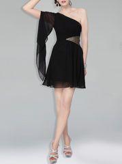 Plain Paillette Womens One Shoulder Cocktail Dress