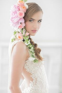 Oh my!!! This floral extravaganza is such a show stopper! Made from very large peonies, garden roses and ranunculus blooms along stems of Spirea, this custom made cascading flower headpiece was made to accentuate Chloe's side-braid.  { Floral Design: Susan Kelly, Three Sisters Flowers & Events | Photographer: Retrospect Images | Hair and Make Up: A-list Hair and Makeup Artist Kat | Model: Chloe Brezsny | Wedding Dress: Patchouli by Galia Lahav }