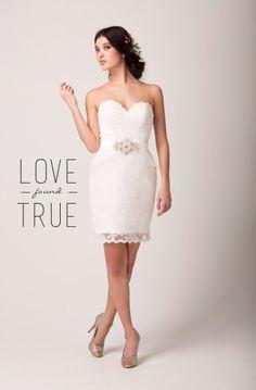 Love Found True, Short Wedding Dress, Little white dress, Lace cocktail dress, Bridal Dress