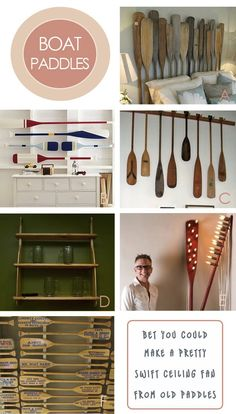 ...repurpose boat paddles.   Jennifer this is for you....I love the headboard for the bed.   boys room