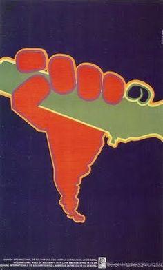 Latin America Solidarity, 1970  Poster by Cuban designer Asela Pérez for the 1970