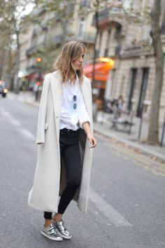 Ankle-Length Coats, Winter's #1  Trend - off-white longline coat + white blouse, black cropped pants and silver metallic shoes