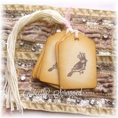 Bird with Crown Vintage Tags .... Shabby Royal Queen King Royal Queen, Customer Appreciation, Vintage Tags, Wedding Wishes, Bird Feathers, Hostess Gifts, Twine, Scrapbook Pages, Hand Stamped