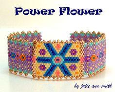 Julie Ann Smith Designs POWER FLOWER Odd Count Peyote Bracelet Pattern by JULIEANNSMITHDESIGNS on Etsy