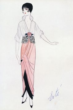 Drawing by Erte for  french couturier Paul Poiret, 1913