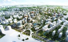 Hangzhou New District Masterplan ©UNStudio Architecture Concept Drawings, City Architecture, Sustainable Architecture, Autocad, Masterplan, Landscape Arquitecture, City Drawing, City Sketch, City Model