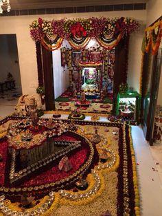 B Diwali Decorations, Festival Decorations, Flower Decorations, Temple Room, Mandir Design, Ganapati Decoration, Pooja Room Door Design, Ethnic Decor, Puja Room