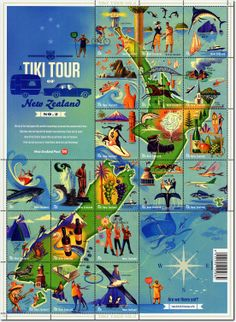 2012 A Tiki Tour of New Zealand Number Two - Modern Map Of New Zealand, Tiki Art, Tiki Tiki, Tiki Decor, Tiki Room, Kiwiana, Number Two, Stamp Collecting, Map Art