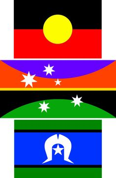 #ausflag context with #ATSI flags – ULURU–SKYline–redsky at centre, designed by simon alexander cook
