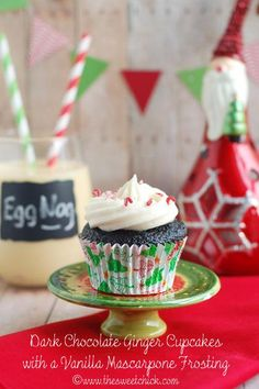 Cupcake Recipes : Dark Chocolate Ginger Cupcakes with a Vanilla Mascarpone Frosting