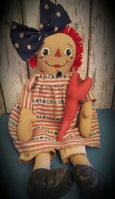 Primitive Little Americana Raggedy Ann Doll w/ Heart Ornie ~*Annie*~ USA ~ Homemade Dolls, Ann Doll, Raggedy Ann And Andy, Old Dolls, Primitives, Fourth Of July, American Flag, Annie, Favorite Things