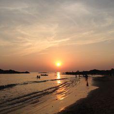 Shri Kali Ashram's trip to sunset at Om Beach, Gokarna, India.