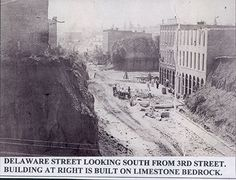 Delaware street looking south from street. the building on right is built on limestone bedrock. North Kansas City, Kansas City Missouri, Missouri River, Columbus Park, Banks Building, Back In The Day, Main Street, Old Photos, Delaware