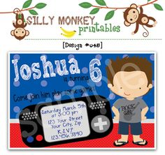 Video game inspired birthday invitation or thank you card for boy or girl DIY - 045. $14.95, via Etsy.