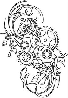 steampunk coloring pages Paper Embroidery, Embroidery Patterns, Machine Embroidery, Steampunk Animals, Motifs Animal, Urban Threads, Coloring Book Pages, Mandala Art, Altered Art