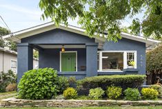 An Updated Stucco Bungalow For Sale in Rockridge - Hooked on Houses Craftsman Style Bungalow, Bungalow Exterior, Gray Exterior, Osborne And Little Wallpaper, Blue Gray Paint, Cozy Living Spaces, Stucco Homes, Bungalows For Sale, Built In Bench