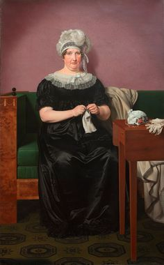 Christoffer Wilhelm Eckersberg (1783-1853) — Portrait  Mrs. Schmidt In fashionable dress and with knitting    (500×806)