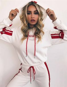 Women's Red and White Hooded Tracksuit. The tracksuit trend is back. Get onboard! | Styling Tips for Street Savvy Fashionistas | Outfit ideas for Women!