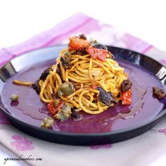 Spaghetti alla Chitarra with Tomatoes, Olives & Capers