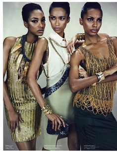 Jourdan Dunn, Anais Mali and Jasmine Tookes for W Magazine.