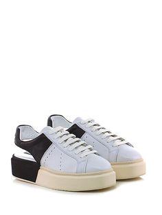 Manuel Barcelò - Sneakers - Donna - Sneaker in pelle con tallone aperto e suola in gomma. Tacco 45, platform 30 con battuta 15. - WHITE\BLACK - € 238.00