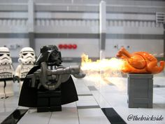 "LEGO MOC of the Week - Imperial Turkey by Joel Reed - For this week's MOC we went to the dark side and got burned. This awesome shot was posted on Joel Reed's Instagram page: @thebrickside. If you don't follow him already, you should. With the caption ""That time when Vader cooked the Imperial Turkey,"" Joel captures a sweet family holiday. #Lego #Minifigure #BrickWarriors #toys #Firebreather #FlameThrower #LegoGun #LegoAccessories #MinifigureAccessories #StarWars #DarthVader"