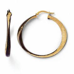 Leslies Textured 14k Gold Hinged Hoop Earrings with Chocolate Rhodium