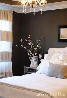 bedroom dark walls, light bedding- love it