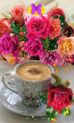 Good Morning Flowers Pictures, Good Morning Beautiful Pictures, Good Morning Roses, Good Night Love Images, Cute Love Pictures, Good Morning Gif, Beautiful Morning, Good Morning Images, Flower Pictures