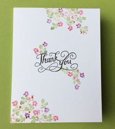 I love this card! It's clean, and just beautiful. Not sure the maker of the Thank You stamp, others are Rubber Stamp Tapestry Cherry Blossoms Peg Stamp Set