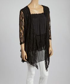 Love this Black Floral Lace Linen-Blend Handkerchief Hem Tunic by Pretty Angel on #zulily! #zulilyfinds