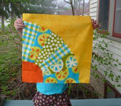 """Tutorial for 12"""" Wonky/Improv fan quilt block at Sewn by Leila. So fast, easy, and fun!"""