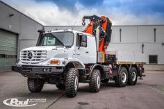 Mercedes zetros twin steer Big Rig Trucks, Mini Trucks, Cool Trucks, Mercedes Benz Unimog, Mercedes Benz Trucks, Car Hauler Trailer, Expedition Truck, Mercedez Benz, Lego
