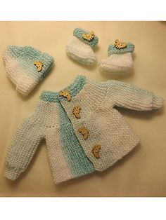 Easy Baby Matinee Set pattern download from e-PatternsCentral.com -- This is a very quick and easy pattern that is essential for premature babies when you want to be able to knit clothes very quickly and on short notice. The pattern includes instructions to knit a cozy hat, warm booties and stylish cardigan. The cardigan is knit in 1 piece, side to side, in garter stitch. Use decorative buttons to give it a personal touch.