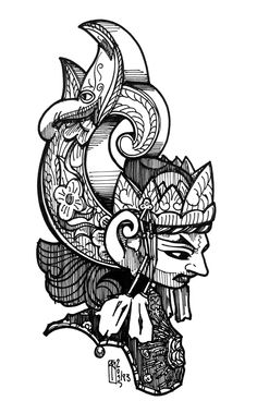wayang kulit poster - Google Search Body Art Tattoos, Cool Tattoos, Black Dragon Tattoo, Mask Drawing, Indonesian Art, Tattoo Project, Carving Designs, Shadow Puppets, Joko