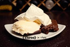 Chocolate Frosting Recipe w/ a little #coolwhip on top via @threeinthree