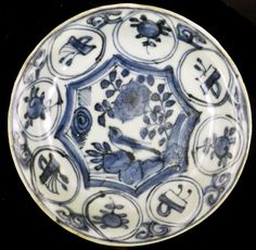 Kraak dishes from the Wanli (c.1625) shipwreck. These dishes  are likely to have been made at the Guanyinge kiln complex,  Jingdezhen, China, where similar production waster has been found