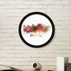 Atlanta America Country City Watercolor Illustration Round Simple Picture Frame Art Prints of Paintings Home Wall Decal #PictureFrame #Atlanta #ArtPrints #America #DecorativePainting #Country #SimpleDesign #City #HomeDecoration #Watercolor #WallDecal #Illustration #PrintPainting